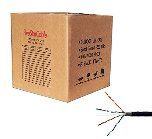 FiveStarCable Cat6 Outdoor 1000 ft 23AWG Double Jackets Direct Burial...
