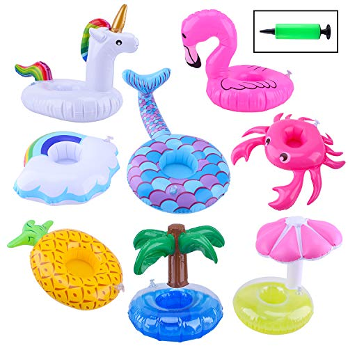 Inflatable Drink Floats, Blovec 8 Pack Inflatable Drink Holders Cup...