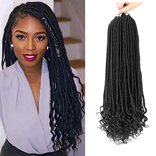 7 Pack Straight Goddess Locs with Curly Ends Faux Locs Crochet Hair...