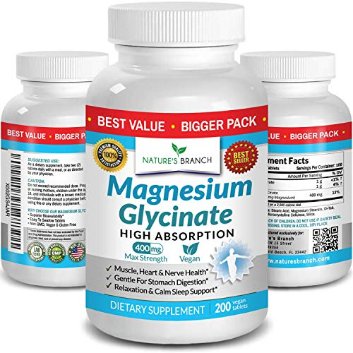 Magnesium Glycinate 400 mg - 200 Tablets - High Absorption, Non Buffered...