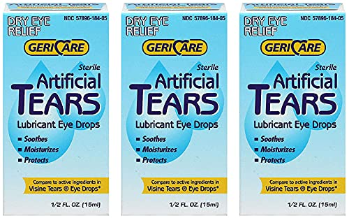 GeriCare Artificial lubricating Tears Dry Eye relief 0.5 oz (Pack of 3)