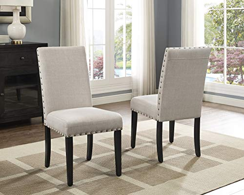 Roundhill Furniture Biony Tan Fabric Dining Chairs with Nailhead Trim, Set...