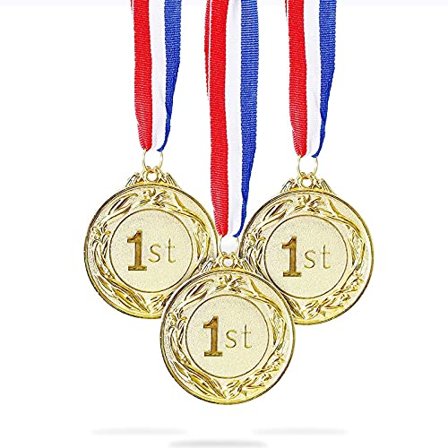 Juvale 6-Pack Gold 1st Place Award Medal Set - Metal for Sports,...
