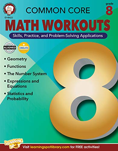 Mark Twain Common Core Math Workouts Resource Book, Grade 8, Ages 13 - 14,...