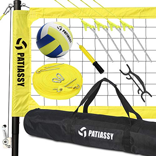 Patiassy Portable Professional Outdoor Volleyball Net Set with Winch...