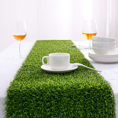 Farochy Artificial Grass Table Runners - Synthetic Grass Table Runner for...