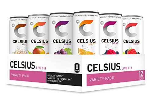 CELSIUS Fitness Drink Variety Pack, Zero Sugar, 12oz. Slim Can (Pack of 12)