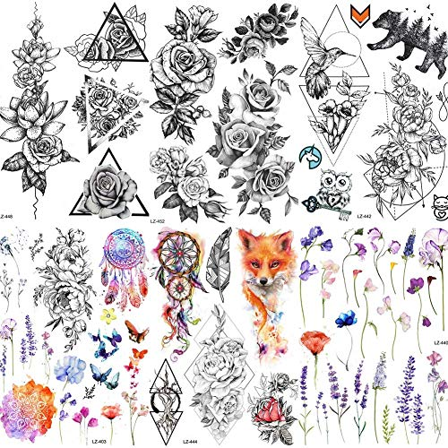 COKTAK 6 Pieces/Lot Large 3D Flower Rose Temporary Tattoos Stickers For...
