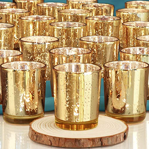 DEVI Gold Votive Candle Holders 24pcs, Fall Wedding Decorations for Table...