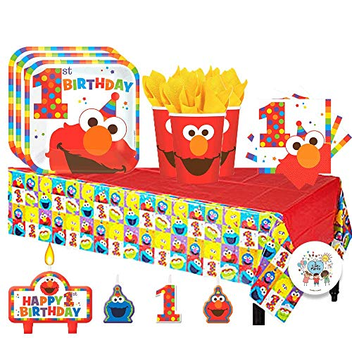 Sesame Street Elmo Turns One Birthday Party Pack for 16 with Plates,...