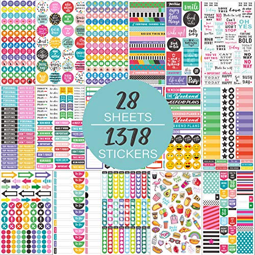 Planner Stickers Pack - 28 Sheets / 1378 Stickers, Stylish Variety...