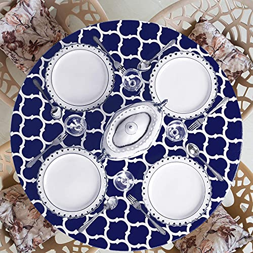 Home One Round Tablecloth with Elastic Edge and Flannel Backing -...