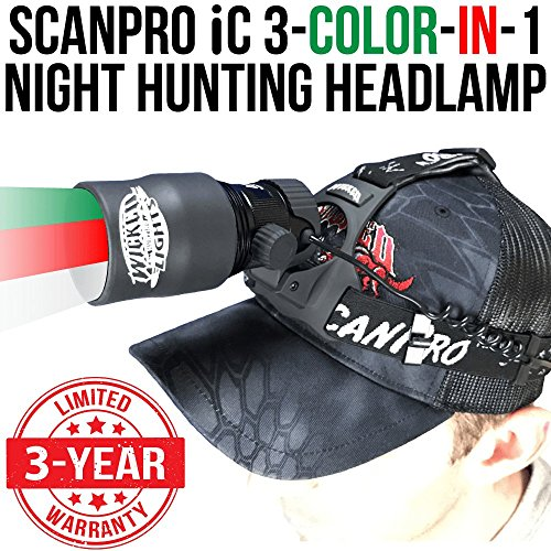 Wicked Lights ScanPro iC 3-Color-in-1 (Green, Red, White LED) Night Hunting...