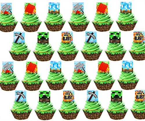Pixel Cupcake Toppers and Wrappers - 24 Cupcake Toppers and 24 Cupcake...