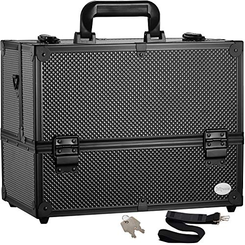 Makeup Train Case Professional Adjustable - 6 Trays Cosmetic Cases Makeup...