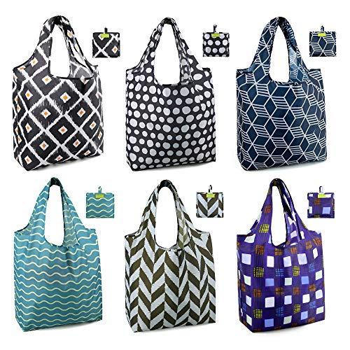 Shopping Bags Reusable Grocery Tote Bags 6 Pack XLarge 50LBS Ripstop...