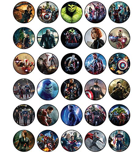 30 x Edible Cupcake Toppers - Avengers Movie Party Collection of Edible...