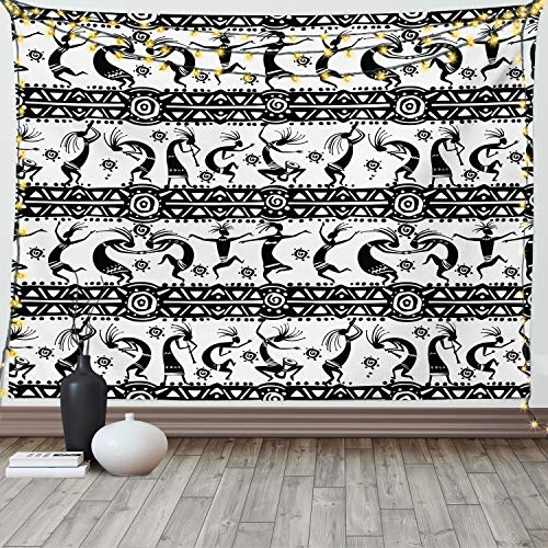 Lunarable Kokopelli Tapestry King Size, A Silhouette of Dancing with...