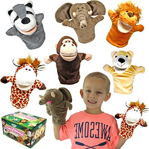 Animal Friends Deluxe Kids Hand Puppets with Working Mouth (Pack of 6) for...