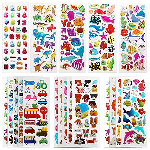 SAVITA 3D Stickers for Kids & Toddlers 500+ Puffy Stickers Variety Pack for...