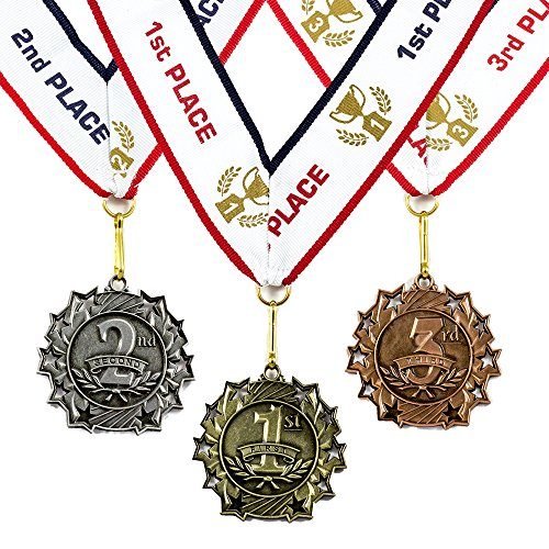 All Quality 1st 2nd 3rd Place Ten Star Award Medals - 3 Piece Set (Gold,...