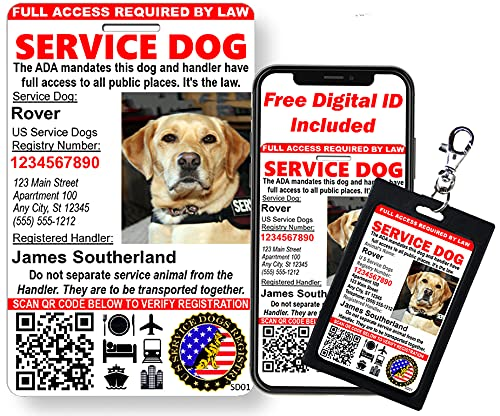 Just 4 Paws Custom Service Dog ID Card with QR Code & Security Seal |...