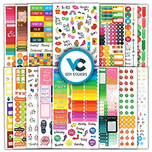 Cute & Colorful Planner Stickers (1054 pcs Value Pack) - Functional &...