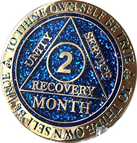 2 Month AA Medallion Reflex Blue Glitter Gold Plated 60 Day Chip