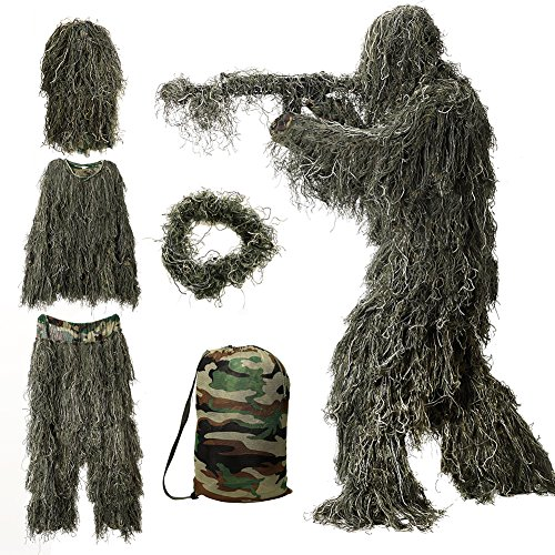 MOPHOTO 5 in 1 Ghillie Suit, 3D Camouflage Hunting Apparel Including...