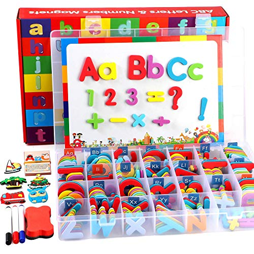 253 PCS Magnetic Letters and Numbers Kit with Double-Sided Magnetic Board...