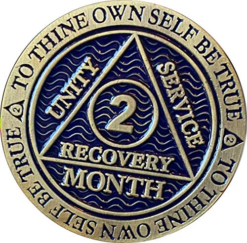2 Month AA Medallion Antique Bronze Dusty Blue Color 60 Day Sobriety Chip