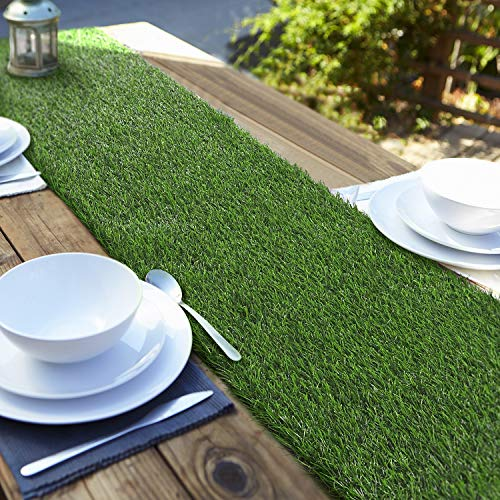 ANECO Artificial Grass Table Runners Carpet Roll Synthetic Grass Table...