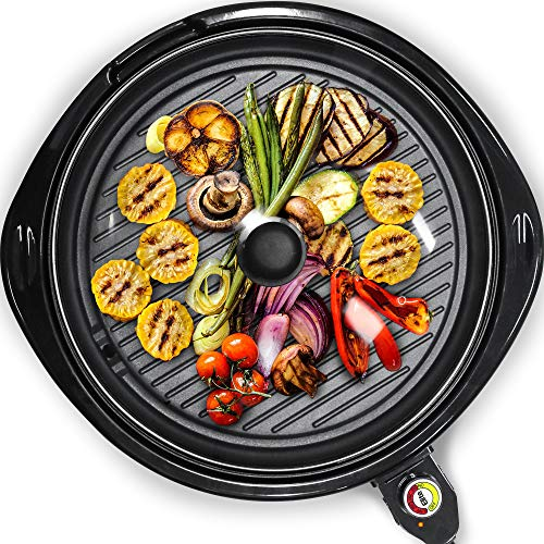 Maxi-Matic Smokeless Indoor Electric BBQ Grill with Glass Lid Dishwasher...
