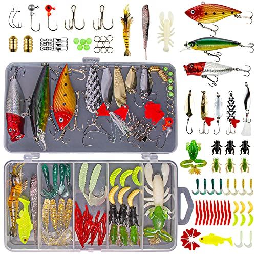 GOANDO Fishing Lures Kit for Freshwater Bait Tackle Kit for Bass Trout...