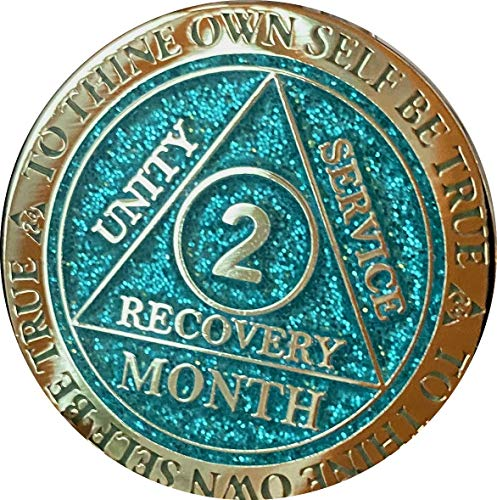 Recoverychip 2 Month AA Medallion Reflex Aqua Glitter and Gold Plated 60...