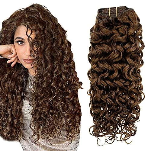 Easyouth 18 Inch Clip in Human Hair Extensions Curly Wavy Human Hair Brown...