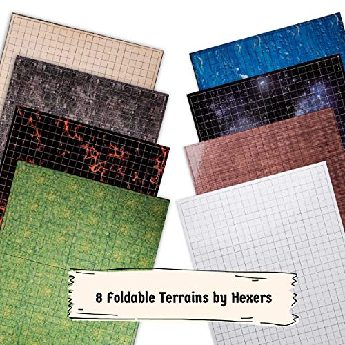 Hexers Role-Playing Game Board Mat, Square Grid Terrains, 8 Different...