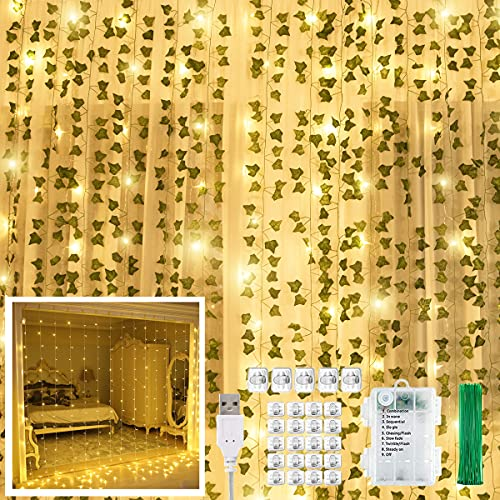 KASZOO 12 Pack Artificial Ivy Leaf Plants with 240 LED Window Curtain...