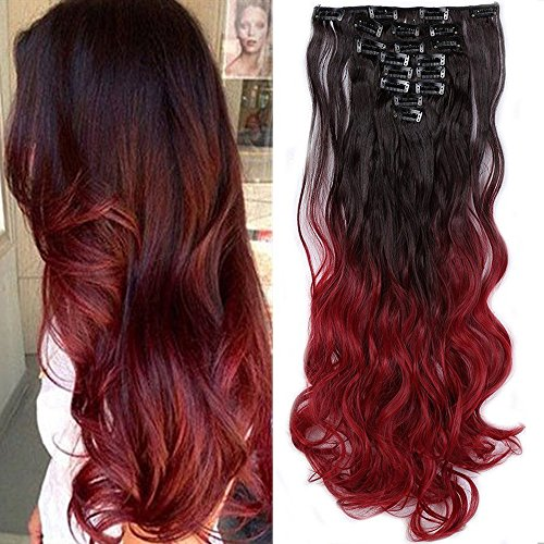 S-noilite 24' Ombre Dip Dye Long Curly Clip in Hair Extensions, Two Tone...