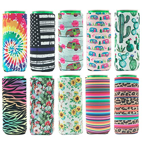 HaiMay 10 Pieces Slim Beer Can Sleeves Beer Can Cooler Covers Fit for 12oz...