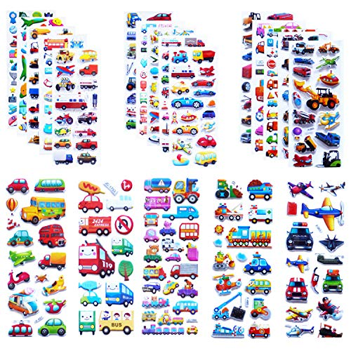 Kids Cars and Trucks Stickers Party Supplies Pack, 20 Different Sheets, Boy...