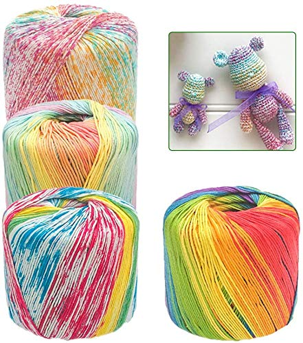 JeogYong 0.9 mm Variegated Cotton Crochet Thread Size 3, Pack of 4 Balls,...