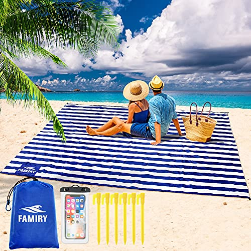 Famiry Sand Free Beach Blanket, Extra Large 10 x 9 Feet Size, Durable &...