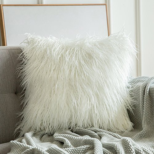 MIULEE Decorative Faux Fur Throw Pillow Cover Fluffy New Luxury Series...