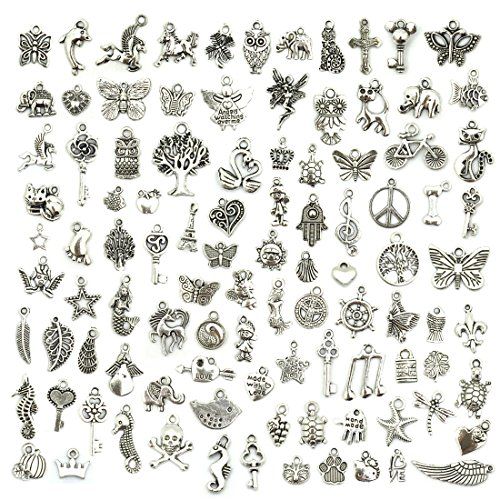 Wholesale Bulk Lots Jewelry Making Silver Charms Mixed Smooth Tibetan...