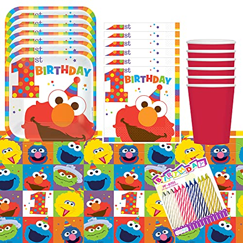 1st Birthday Elmo Party Plates Napkins Cups and Table Cover Serves 16 with...