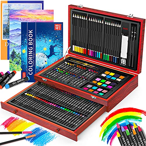 Art Supplies, iBayam 150-Pack Deluxe Wooden Art Set Crafts Drawing Painting...