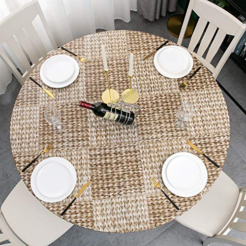 Round Vinyl Elastic Edged Flannel Backed Tablecloth Fitted Table Cover PVC...