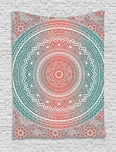 Ambesonne Teal and Coral Tapestry, Ombre Mandala Art Antique Gypsy Folk...