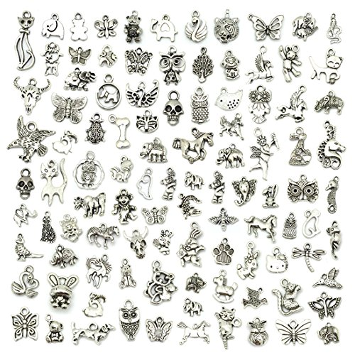 JIALEEY Wholesale 100 PCS Mixed No Repeated Silver Pewter Smooth Metal...